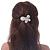 Bridal Wedding Prom Silver Tone Simulated Pearl Diamante 'Asymmetrical Butterfly' Barrette Hair Clip Grip - 60mm Across - view 4