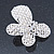 Bridal Wedding Prom Silver Tone Simulated Pearl Diamante 'Asymmetrical Butterfly' Barrette Hair Clip Grip - 60mm Across - view 8