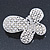 Bridal Wedding Prom Silver Tone Simulated Pearl Diamante 'Asymmetrical Butterfly' Barrette Hair Clip Grip - 60mm Across