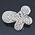 Bridal Wedding Prom Silver Tone Simulated Pearl Diamante 'Asymmetrical Butterfly' Barrette Hair Clip Grip - 60mm Across