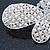 Bridal Wedding Prom Silver Tone Simulated Pearl Diamante 'Asymmetrical Butterfly' Barrette Hair Clip Grip - 60mm Across - view 5