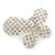 Bridal Wedding Prom Silver Tone Simulated Pearl Diamante 'Asymmetrical Butterfly' Barrette Hair Clip Grip - 60mm Across - view 2