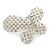 Bridal Wedding Prom Silver Tone Simulated Pearl Diamante 'Asymmetrical Butterfly' Barrette Hair Clip Grip - 60mm Across - view 2