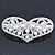 Bridal Wedding Prom Silver Tone Simulated Pearl Diamante 'Heart' Barrette Hair Clip Grip - 65mm Across - view 8