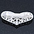 Bridal Wedding Prom Silver Tone Simulated Pearl Diamante 'Heart' Barrette Hair Clip Grip - 65mm Across - view 7