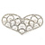 Bridal Wedding Prom Silver Tone Simulated Pearl Diamante 'Heart' Barrette Hair Clip Grip - 65mm Across - view 2