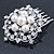 Bridal/ Wedding/ Prom/ Party Rhodium Plated Austrian Clear Crystal, Simulated Glass Pearl 'Open Flower' Hair Comb - 55mm - view 4