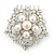 Bridal/ Wedding/ Prom/ Party Rhodium Plated Austrian Clear Crystal, Simulated Glass Pearl 'Open Flower' Hair Comb - 55mm - view 2