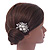Bridal/ Wedding/ Prom/ Party Rhodium Plated Clear Crystal, Simulated Pearl Cluster Hair Comb - 60mm - view 3