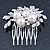 Bridal/ Wedding/ Prom/ Party Rhodium Plated Clear Crystal, Simulated Pearl Cluster Hair Comb - 60mm - view 4