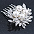 Bridal/ Wedding/ Prom/ Party Rhodium Plated Clear Crystal, Simulated Pearl Cluster Hair Comb - 60mm - view 5