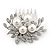 Bridal/ Wedding/ Prom/ Party Rhodium Plated Clear Crystal, Simulated Pearl Cluster Hair Comb - 60mm - view 2