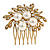 Bridal/ Wedding/ Prom/ Party Antique Gold Tone Clear Crystal, Simulated Pearl Cluster Hair Comb - 60mm