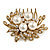 Bridal/ Wedding/ Prom/ Party Antique Gold Tone Clear Crystal, Simulated Pearl Cluster Hair Comb - 60mm - view 6
