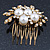 Bridal/ Wedding/ Prom/ Party Antique Gold Tone Clear Crystal, Simulated Pearl Cluster Hair Comb - 60mm - view 4