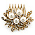 Bridal/ Wedding/ Prom/ Party Antique Gold Tone Clear Crystal, Simulated Pearl Cluster Hair Comb - 60mm - view 2