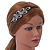 Black Acrylic Alice/ Hair Band/ HeadBand With Clear Crystal Leaf Motif - view 2