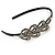 Black Acrylic Alice/ Hair Band/ HeadBand With Clear Crystal Leaf Motif - view 3