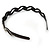 Black Acrylic Alice/ Hair Band/ HeadBand With Clear Crystal Leaf Motif - view 5