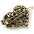 Vintage Inspired AB Crystal 'Heart' Hair Slide In Antique Gold Metal - 35mm Across - view 4