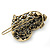Vintage Inspired AB Crystal 'Heart' Hair Slide In Antique Gold Metal - 35mm Across - view 5