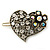 Vintage Inspired Clear and AB Crystal 'Heart' Hair Slide In Antique Gold Metal - 35mm Across