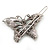 Vintage Inspired AB Crystal 'Butterfly' Hair Slide In Antique Silver Metal - 45mm Across - view 3