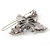 Vintage Inspired AB Crystal 'Butterfly' Hair Slide In Antique Silver Metal - 45mm Across - view 4