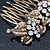 Vintage Inspired Bridal/ Wedding/ Prom/ Party Austrian Clear Crystal 'Leaves & Flowers' Hair Comb In Antique Gold Metal - 80mm - view 6