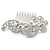Bridal/ Wedding/ Prom/ Party Rhodium Plated Clear Crystal, Simulated Pearl 'Feather' Hair Comb - 100mm - view 11