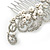 Bridal/ Wedding/ Prom/ Party Rhodium Plated Clear Crystal, Simulated Pearl 'Feather' Hair Comb - 100mm - view 8