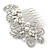 Bridal/ Wedding/ Prom/ Party Rhodium Plated Clear Crystal, Simulated Pearl 'Feather' Hair Comb - 100mm - view 10