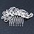 Bridal/ Wedding/ Prom/ Party Rhodium Plated Clear Crystal, Simulated Pearl 'Feather' Hair Comb - 100mm - view 12