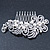 Bridal/ Wedding/ Prom/ Party Rhodium Plated Clear Crystal, Simulated Pearl 'Feather' Hair Comb - 100mm - view 13