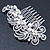 Bridal/ Wedding/ Prom/ Party Rhodium Plated Clear Crystal, Simulated Pearl 'Feather' Hair Comb - 100mm - view 2