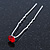 3pcs Bridal/ Wedding/ Prom/ Party Red Crystal Hair Pins In Silver Tone - 70mm L - view 2