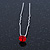 3pcs Bridal/ Wedding/ Prom/ Party Red Crystal Hair Pins In Silver Tone - 70mm L - view 9