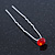 3pcs Bridal/ Wedding/ Prom/ Party Red Crystal Hair Pins In Silver Tone - 70mm L - view 7
