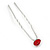3pcs Bridal/ Wedding/ Prom/ Party Red Crystal Hair Pins In Silver Tone - 70mm L - view 10