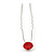 Bridal/ Wedding/ Prom/ Party Single Red Crystal Hair Pin In Silver Tone - 70mm L