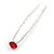3pcs Bridal/ Wedding/ Prom/ Party Red Crystal Hair Pins In Silver Tone - 70mm L - view 8
