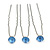 3pcs Bridal/ Wedding/ Prom/ Party Light Blue Crystal Hair Pins In Silver Tone - 70mm L