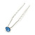 Bridal/ Wedding/ Prom/ Party Single Light Blue Crystal Hair Pin In Silver Tone - 70mm L - view 8