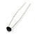 Bridal/ Wedding/ Prom/ Party Single Montana Blue Crystal Hair Pin In Silver Tone - 70mm L - view 5