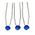 3pcs Bridal/ Wedding/ Prom/ Party Sapphire Blue Crystal Hair Pins In Silver Tone - 70mm L