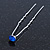 Bridal/ Wedding/ Prom/ Party Single Sapphire Blue Crystal Hair Pin In Silver Tone - 70mm L - view 7