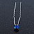 Bridal/ Wedding/ Prom/ Party Single Sapphire Blue Crystal Hair Pin In Silver Tone - 70mm L - view 3