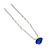 Bridal/ Wedding/ Prom/ Party Single Sapphire Blue Crystal Hair Pin In Silver Tone - 70mm L - view 4
