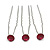 3pcs Bridal/ Wedding/ Prom/ Party Fuchsia Crystal Hair Pins In Silver Tone - 70mm L