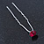Bridal/ Wedding/ Prom/ Party Single Fuchsia Crystal Hair Pin In Silver Tone - 70mm L - view 6
